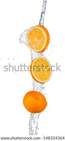 Fresh oranges with water splash, isolated on white background  - stock photo