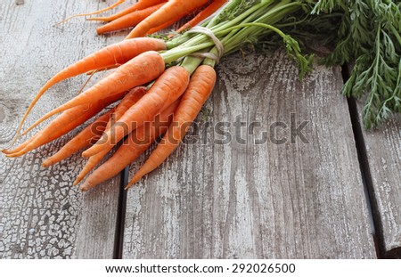 Fresh organic carrots on wooden table, selective focus - stock photo