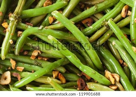 Fresh Organic Cooked Green Beans in a bowl - stock photo