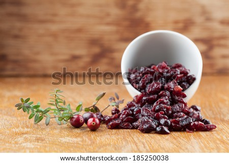 Fresh organic cranberries and a bowl with dried cranberries - stock photo