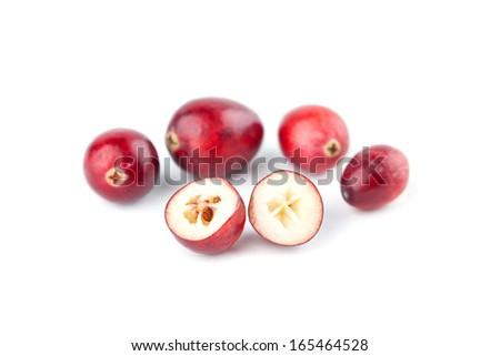 Fresh organic cranberries isolated on white background - stock photo