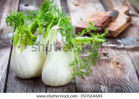 Fresh organic fennel on wooden dark table - stock photo