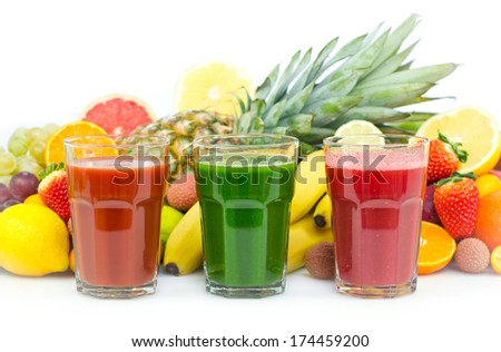 Fresh, organic fruit and vegetable juices - stock photo