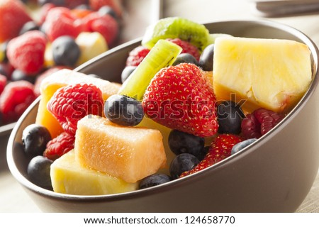Fresh Organic Fruit Salad on a plate - stock photo
