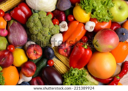 Fresh organic fruits and  vegetables close-up - stock photo