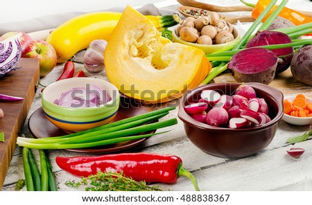 Fresh organic fruits and vegetables for cooking. Healthy eating concept