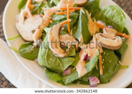 Fresh organic garden salad with creamy thousand island dressing - stock photo