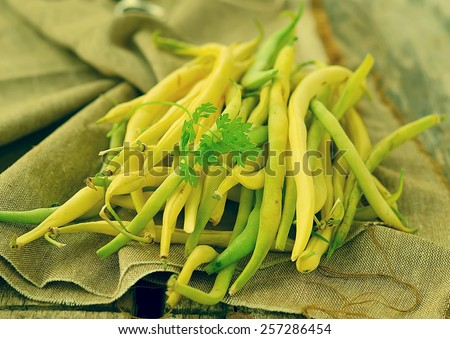 fresh,organic  green beans.image is tinted - stock photo