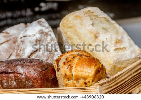 fresh organic home-made bread at market - stock photo