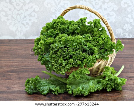 Fresh, organic kale in a gardening basket.