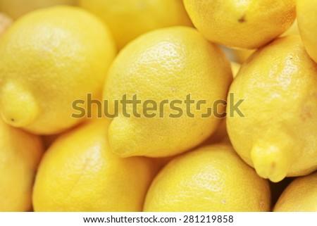 fresh organic lemons background full frame - stock photo
