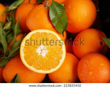 fresh organic oranges on a farmer's market - stock photo