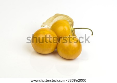 Fresh organic physalis fruit ,Helathy fresh Gooseberry Cape ,Uchuva delicious tropical fruit in Peru, Cape gooseberry (Physalis peruviana) plant on white  background - stock photo