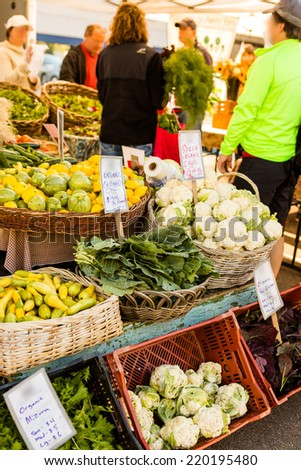 Fresh organic produce at the local farmers market. - stock photo