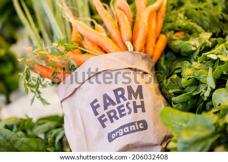 Fresh organic produce on sale at the local farmers market. - stock photo