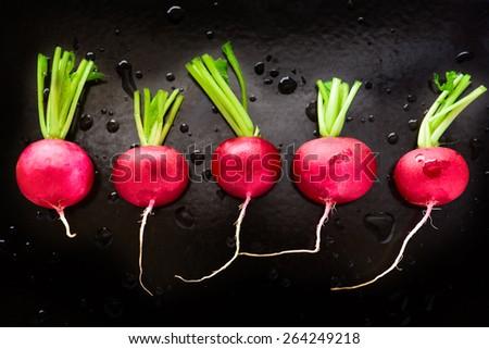 Fresh organic radish on black background - stock photo