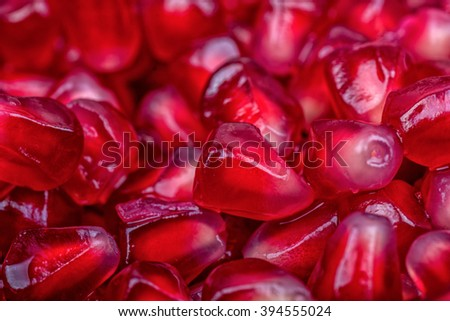 Fresh organic red pomegranate seeds