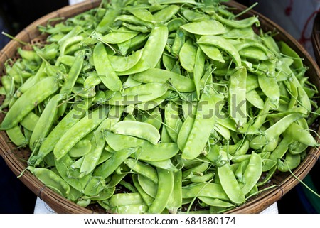 Fresh organic sugar snap peas in the market, Thailand