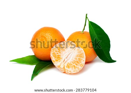 Fresh organic tangerine fruits with green leaves isolated on white background - stock photo