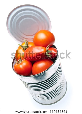 Fresh organic tomatoes in the can on a white background. - stock photo