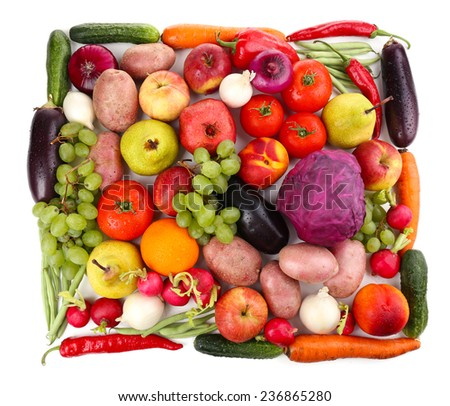 Fresh organic vegetables and fruits isolated on white