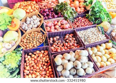 Fresh organic vegetables at local farmers market - stock photo