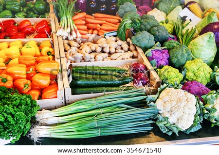 Fresh organic vegetables at local farmers market - stock photo