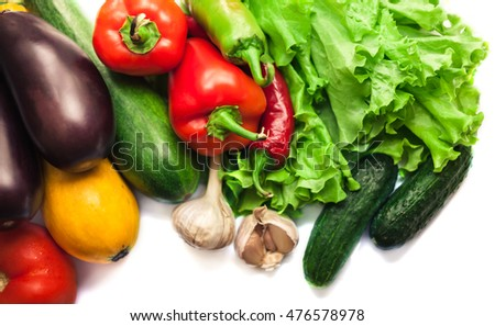 Fresh organic vegetables. Autumn vegetables. Harvesting. Ingredients for the salad. Lettuce, tomatoes, cucumbers, zucchini, eggplant, peppers, chillies. Advertising Space.