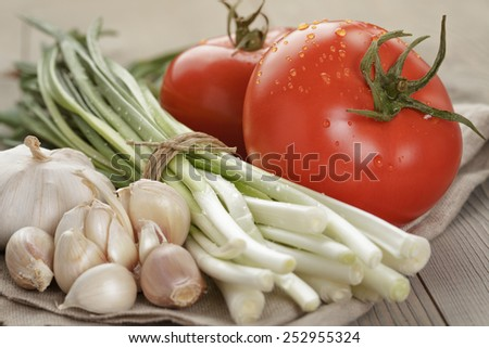 fresh organic vegetables for salad or bruschetta - stock photo