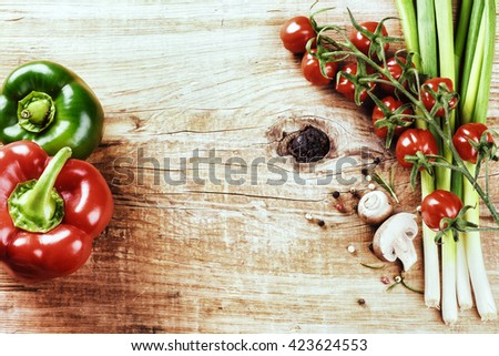 Fresh organic vegetables. Healthy eating and cooking concept
