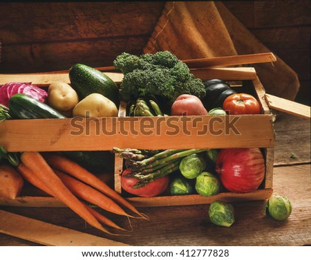 Fresh Organic Vegetables In An Open Crate
