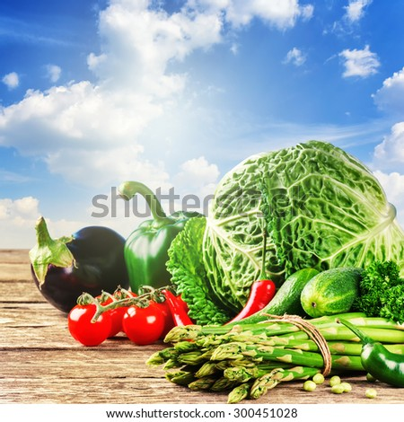 Fresh organic vegetables in outdoor setting. Healthy food concept  - stock photo