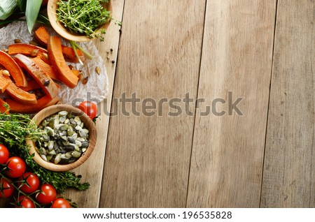 Fresh Organic Vegetables on a Wooden Background with Space For Your Text  - stock photo