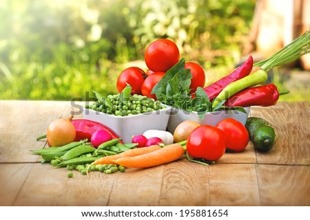 Fresh organic vegetables on table - stock photo