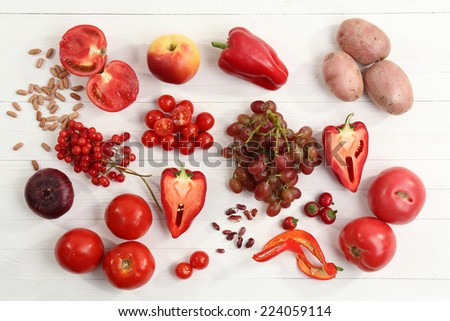 Fresh organic vegetables on table, close up - stock photo