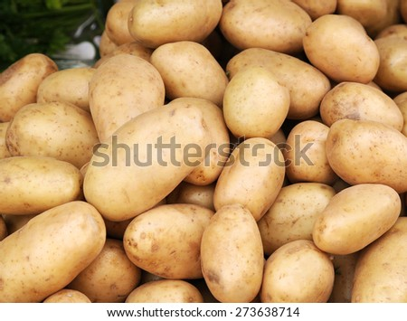 Fresh organic young potatoes pile sold on market