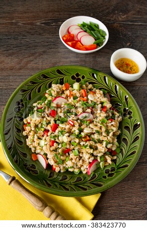 Fresh orzo salad with raw vegetables