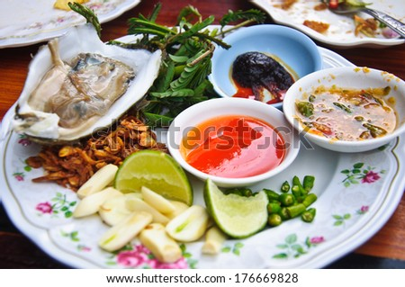 Fresh oyster in thai style food - stock photo