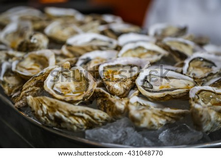 fresh oysters as Cocktail Hors-Deurves - stock photo
