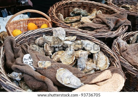 fresh oysters at market in Cancale, Brittany, France