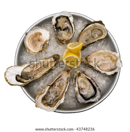 fresh oysters traditional wedding breakfast - stock photo