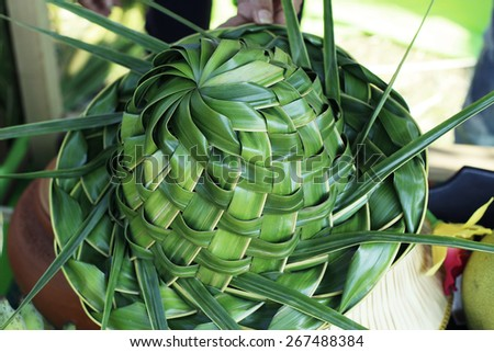 Fresh Pandan leaf weave to hat bouquet - stock photo