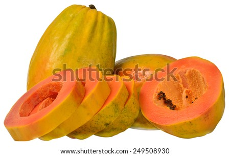Fresh papaya with clipping path. - stock photo