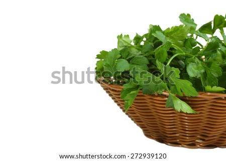fresh parsley in a basket isolated on white - stock photo