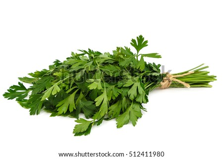 Fresh parsley isolated on a white background.