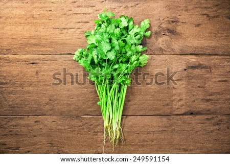 Fresh parsley on wood background - stock photo