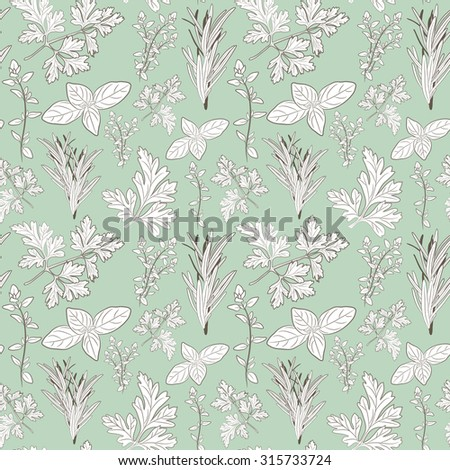 fresh parsley, thyme, rosemary, and basil herbs. Aromatic leaves used to season meats, poultry, stews, soups, Bouquet granny. Seamless pattern - stock photo