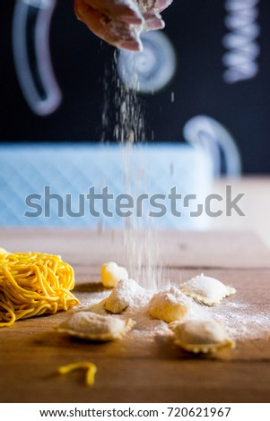 Fresh pasta ready to eat