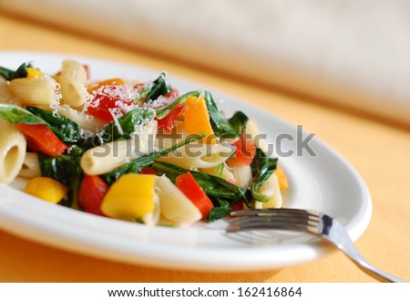 Fresh pasta salad with vegetables.