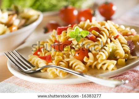 fresh pasta with tomato sauce close up - stock photo